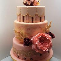 Wedding cake with David Austen (English) rose