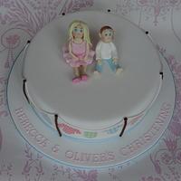 Christening Cake for Rebecca & Oliver by Let's Eat Cake