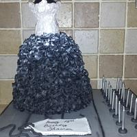 Black and silver ruffle gown