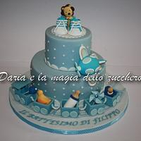 Baptism cake baby boy