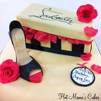 Louboutin shoe box and heel cake