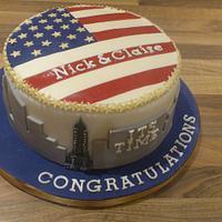 New York engagement cake
