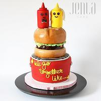 """""""We go together like..."""" (a bridal shower cake)"""