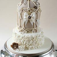 Ruffled Birdcage Wedding Cake
