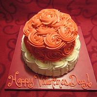 Valentines Day Rosette and Ruffle cake