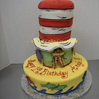 Dr. Suess themed 1st birthday cake