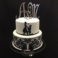 Proposal Silhouette Engagement Cake