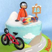 Snowboard and Bicycle Cake.