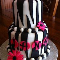 Zebra Cake with Daisies