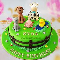 Farm animals theme cake for girls birthday