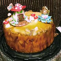 Fairy on a Tree Stump celebrating birthday