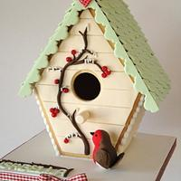 Winter Bird House Cookie