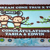 Twin Monkeys Baby Shower by Lesley Wright