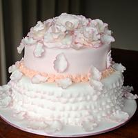 Pink white mud frill cake with gumpaste roses