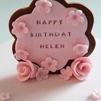 Pink daisy cake for Helen by Strawberry Lane Cake Company