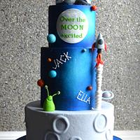 Outer space themed cake