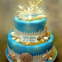 Seashore Themed Engagement Cake