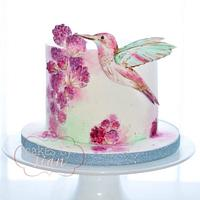 Humming Bird Handpainted cake