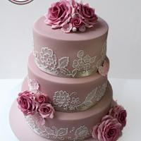 Embroidery lace cake