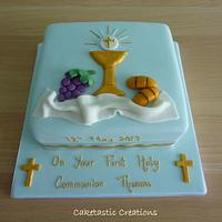1st Holy Communion Cake  by Caketastic Creations
