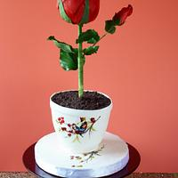 Standing rose cake