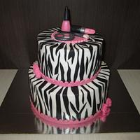 Makeup and Zebra Print Cake