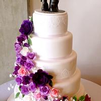 5 tiers Purple wedding cake