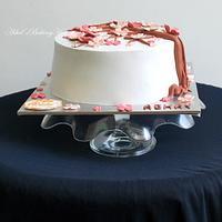 Cherry blossom theme cake with sharp edges