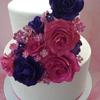 Pink & Purple Cascading Roses