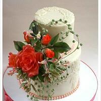 Coral Rose Wedding Cake