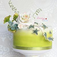 rose and airbrushed cake