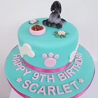 Aqua doggy birthday cake