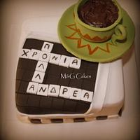 Crossword cake by M&G Cakes