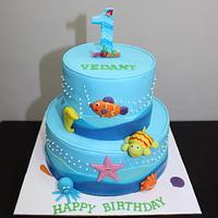 Underwater, Sea creatures theme 2 tier cake for 1st birthday