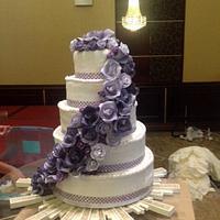 Floral engagement cake