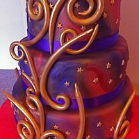 Red & Purple Wedding Cake