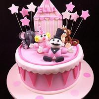 Pink and White Circus Cake