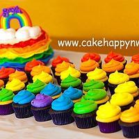 """Rainbow Themed Cake & Cupcakes"""