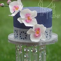 Navy blue ganache with orchid
