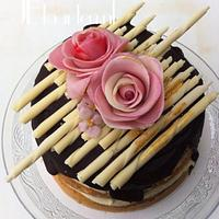 Chocolate bomb with marzipan roses