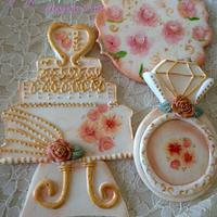 Hand Painted Wedding Cookie Toppers