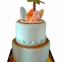 Surfer baby shower cake