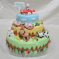 Farm animals christening cake