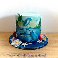 Hand painted dolphin cake