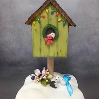 Christmas Birdhouse cake