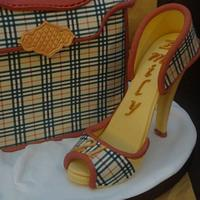 Burberry style handbag and high heel shoe by Claire