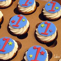 Blue and Red First Birthday Cupcakes