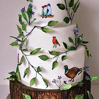 'birds with hats' wedding cake