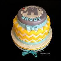 Chevron & Elephant Baby Shower Cake by SwoonCakery