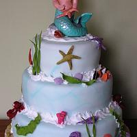 seaside theme cake